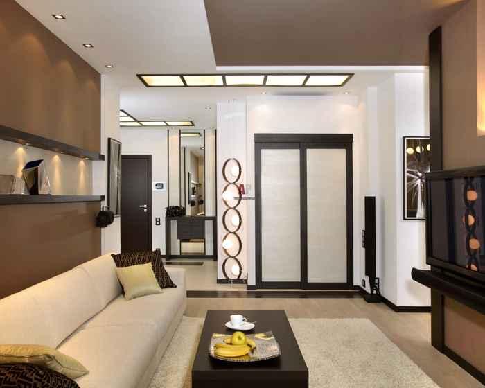 Современный интерьер гостиной комнаты 18 кв м Дизайн