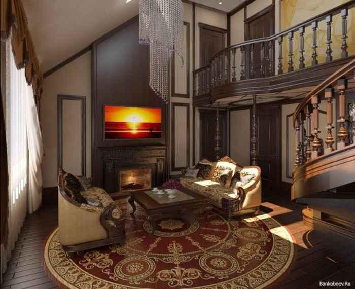 Интерьер гостиной метров фото Экспо дизайн Деревянный интерьер загородного дома и стеклянные панели в интерьере