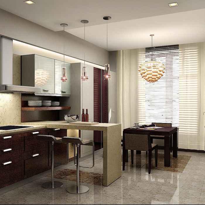 Дизайн кухни студии фото 16 кв.м