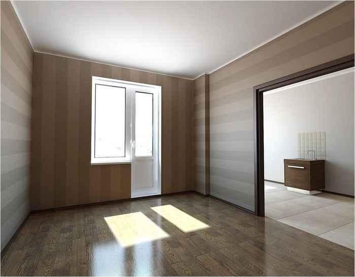 Классический интерьер зала с обоями
